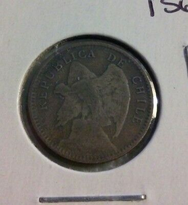 1913 CHILE  10 CENTAVOS COIN - KM#156.2A - .400 Silver (#IN1391)