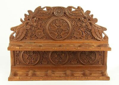 ! Antique 19th c. Dutch Colonial Bali FINE Open Work Carved Wood Pipe Rack Shelf