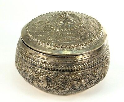 ! Antique Southeast Asian Silver Repousse Betel Nut Lime Box Container Thai