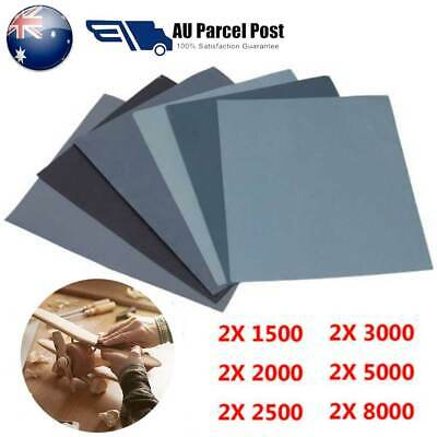 12PCS Wet And Dry Paper 8000,5000,3000, 2500, 2000, 1500, GRIT Blue Sandpaper