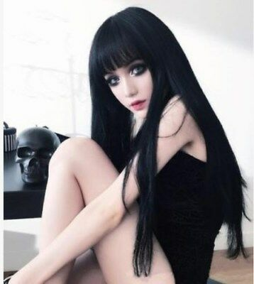Women Long Straight Black Cosplay Wigs Party Wig  Natural & Realistic Bangs