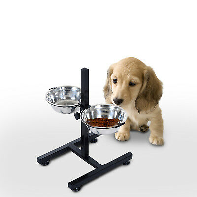 Cat Dog Pet 2 Bowl Food Water Feeder Stainless Steel Adjustable Raised Stand