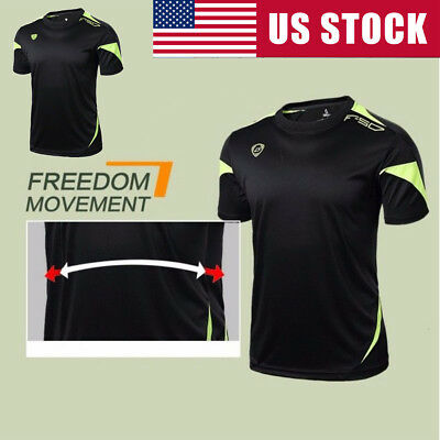 Men Quick Dry Wicking Sports T-shirts Breathable Mesh Lined Short Sleeve Tops