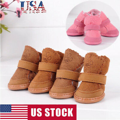 4PCS Set Winter Warm Chihuahua Dog Boot Small Puppy Pet PU Leather Shoes Booties