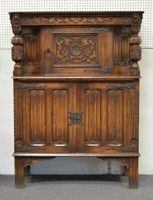 Antique Spanish Oak Carved Linen Press
