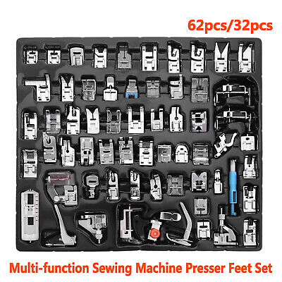 for Brother Janome Singer Domestic Sewing Machine Presser Foot Feet Set 32/62pcs