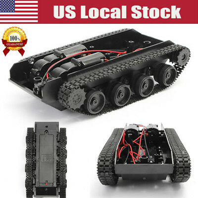 Smart Robot Tank Car Chassis Rubber Track Crawler for Arduino 130 Motor US Stock