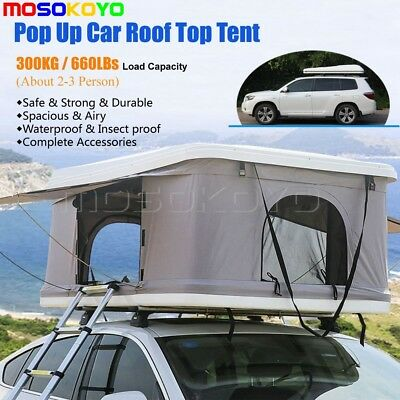 Pop Up ABS Hard Shell White Foldable Car/Truck/Suv/Van Roof Top Tent Universal