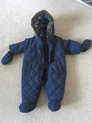 George Baby Boys Navy Snowsuit 0-3 Mths