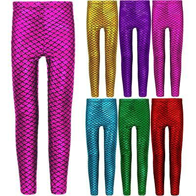 Girls Metallic Fish Scale Leggings Mermaid Kids Shiny Foil Childrens 7-13 Years