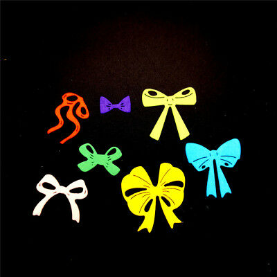 7pcs bow cutting dies stencil scrapbook album paper embossing craft diy  HC