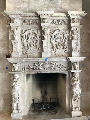Carved Italian Marble Fireplace Le Belvedier Mansion Ball Room Hadid Estate