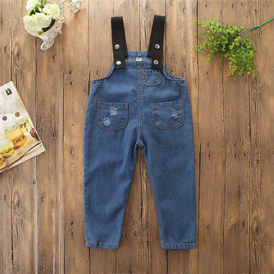 Child Kid Boy Girl Halter Jeans Romper Overalls Backless Jumpsuit Pants Blue
