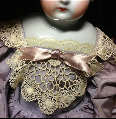 """Antique China Head Doll Hertwig c. 1890 China arms and feet, original Body. 20"""""""