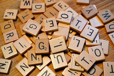 New 200 Wooden Scrabble Tiles Black Letters & Numbers For Crafts Uk Seller*Scrb