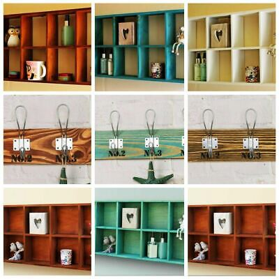 Rustic Wooden Wall Shelves Storage Compartment Shelving Vintage Cubes Coat Hook