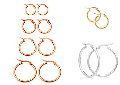 Surgical Stainless Steel Hypo-Allergenic ROUND Hoop Drop Earrings - lady-muck1