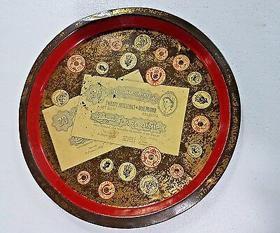 Vtg East African currency Board Adv. tin serving plate depicts Currency Coins
