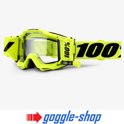 2019 100% Percent Forecast Accuri Roll Off Mx Motocross Goggles Fluo Yellow
