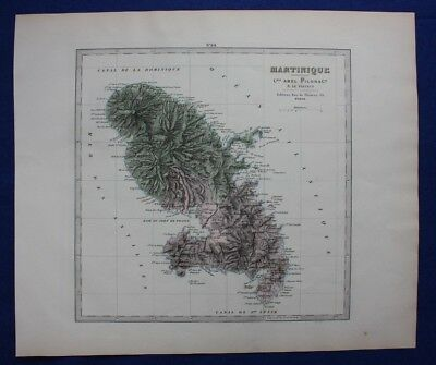 Original antique map MARTINIQUE, CARIBBEAN, Le Vasseur, Fisquet, Pilon, 1878