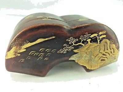 Antique Rare Japanese Lacquered Papier Mache Snuff Box- Gilt Decoration Scene