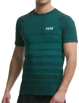 TCA SuperKnit Engineered Mens Short Sleeve Running Top - Green