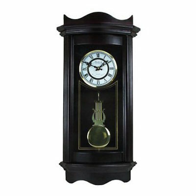 "BEDFORD 25""WEATHERED CHOCOLATE CHERRY GRANDFATHER WALL CLOCK with PENDULUM&CHIME"
