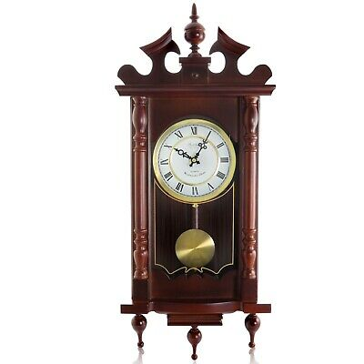 "BEDFORD CLASSIC 31"" CHERRY OAK FINISH GRANDFATHER WALL CLOCK w/4 CHIMES PENDULUM"