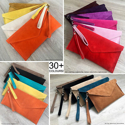 Ladies Envelope Oversize Clutch Evening Bag Genuine Leather Real Suede Crossbody