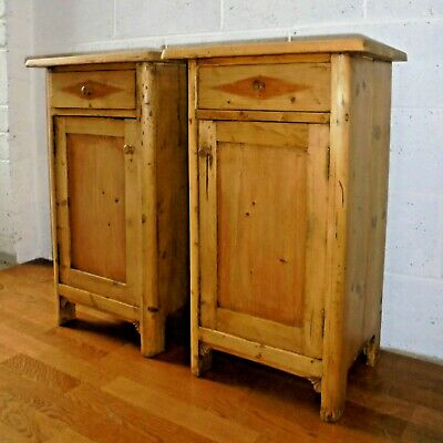 Pair Of Antique Rustic Country Pine Bedside Cabinets With Drawer & Cupboard
