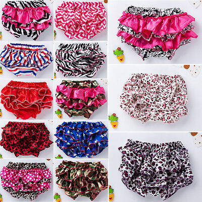 Infant Toddler Baby Girls Ruffle Bottoms Pants Nappy Diaper Cover Panties Satin