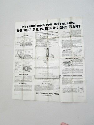 1920 Antique - DELCO LIGHT PLANT Battery Install Instructions & Diagram 110V 3KW