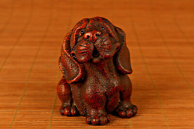 ancient boxwood hand carved old big dog statue figure netsuke collectable