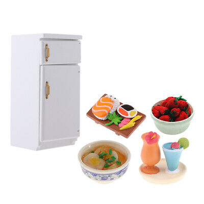 1/12 Dolls House Kitchen Refrigerator White Fridge Playset and Food Models