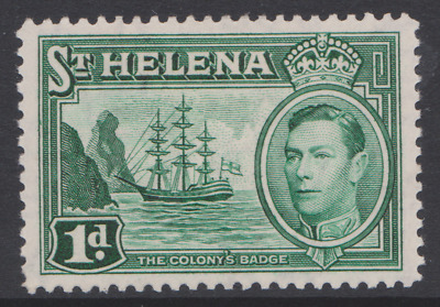 St. Helena 1938, 1d green. SG 132 MH. Small damage on back.