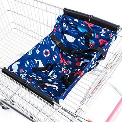 Aminiture Foldable Baby Shopping Cart Hammock Toddler Trolley Pad Baby (Blue)