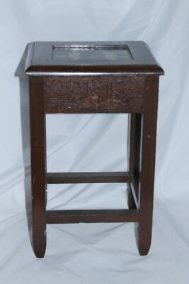 antique SMALL CHINESE WOOD TEA TABLE MOP Pearl inlay Geisha Girls Carved ASIAN