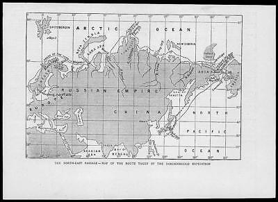 1879 Antique Print - MAP NORTH EAST PASSAGE NORDENSKJOLD EXPEDITION  (94)