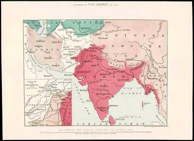 1879  Antique Print  INDIA MAP Persia Iran Arabian Sea Afghanistan China   (292)