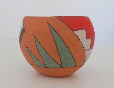 Hand Thrown and Painted Southwest Style Terra Cotta Pot Pottery Geometric Design