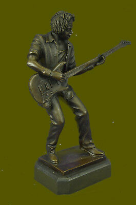 Bronze Guitar Player Sculpture Statue Figure Music Gift Orchestra Large Figure