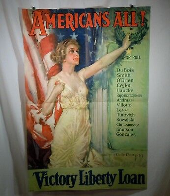 WWI 1919 Americans All, Howard Chandler Christy, Victory Liberty Loan Poster