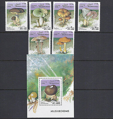 AFGHANISTAN 1996 MUSHROOMS CHAMPIGNONS set/souvenir sheet VF MNH