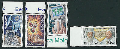 MOLDOVA 2000 EVENTS of 20th CENTURY POPE JOHN PAIL II complete set of 4 VF MNH