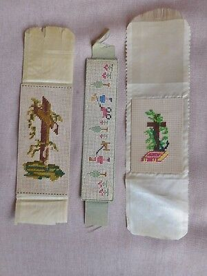 Antique Paper Punch Needlepoint Sampler Bookmarks 3 Different 2 Religious