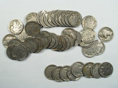 Full Roll Buffalo Nickels most 1930s G-XF + 8 Bonus Coins 1919 VF 48 Coins Total