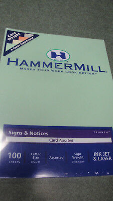 100  Hammermill card stock sign weight 74 lb 4 colors ink jet laser sign notices