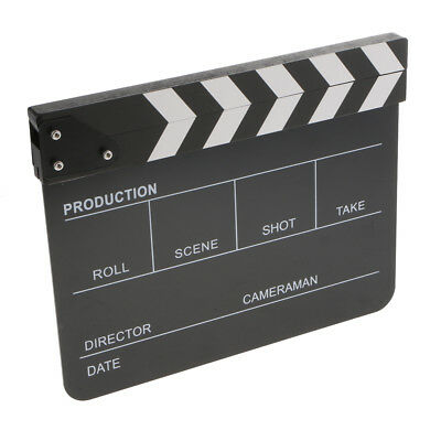 Acrylic English Clapperboard TV Film Movie Slate Cut Role Play Prop-Black