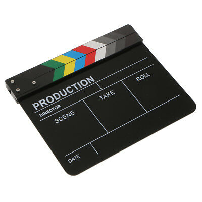 Acrylic Colorful Clapperboard TV Film Movie Slate Cut Role Play Prop-Black