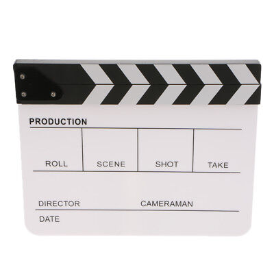 Acrylic English Clapperboard TV Film Movie Slate Cut Role Play Prop-White